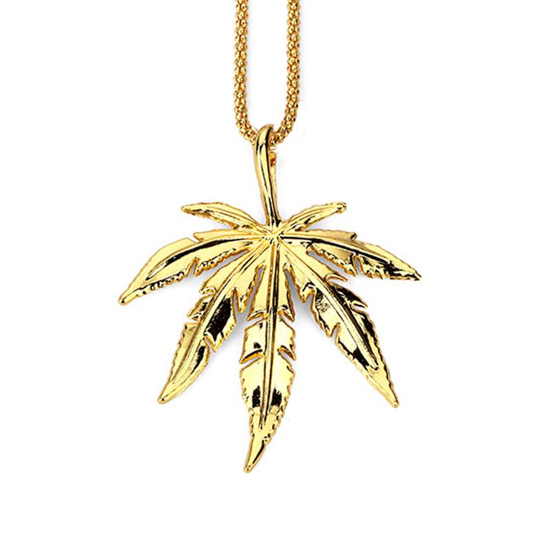 ZJ6323 Mens Iced Out Jewelry Necklace Brand Hemp leaves Male Pendant Hip Hop Necklace Male Jewelry For Men Women Gift Wholesale(China (Mainland))