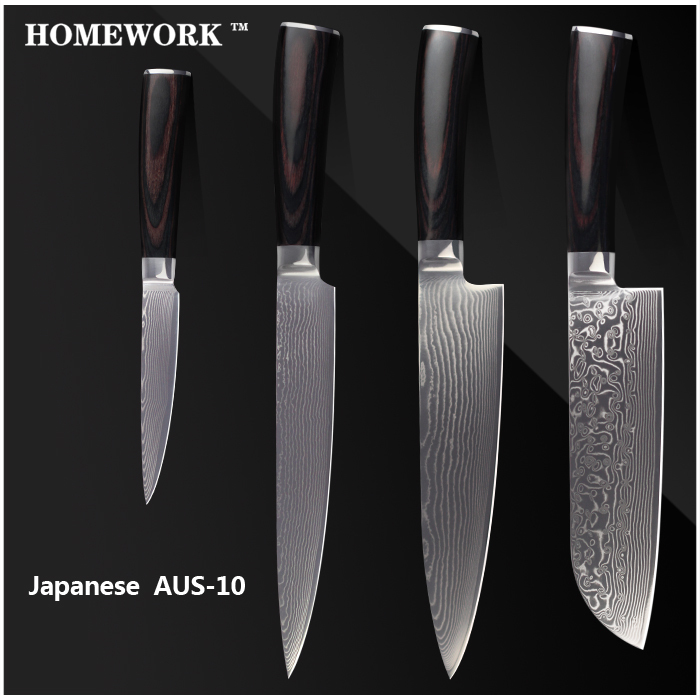 "HOMEWORK damascus style knives 8 inch chef slicing 7"" santoku 4.5"" utility knife damascus AUS-10 stainless steel kitchen knives.(China (Mainland))"