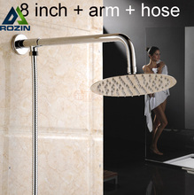 "Buy Chrome Finished Ultrathin 8"" Brass Shower Head + Shower Arm/holder + 59"" Shower Hose for $32.43 in AliExpress store"