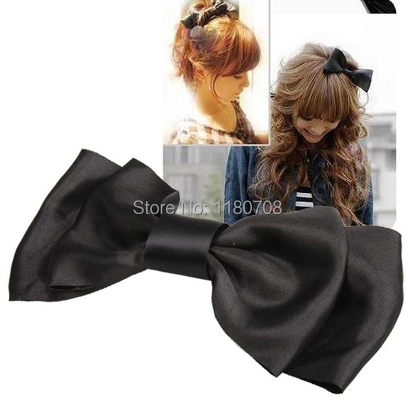 Black Decoration Satin Bow Hair Barrette Clip(China (Mainland))