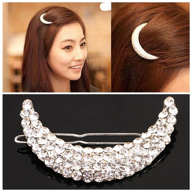Women Fashion Headwear Cute Barrette Silver Plated Meniscus Design Hairpin Crystal Hair Clip Headwear-0047(China (Mainland))
