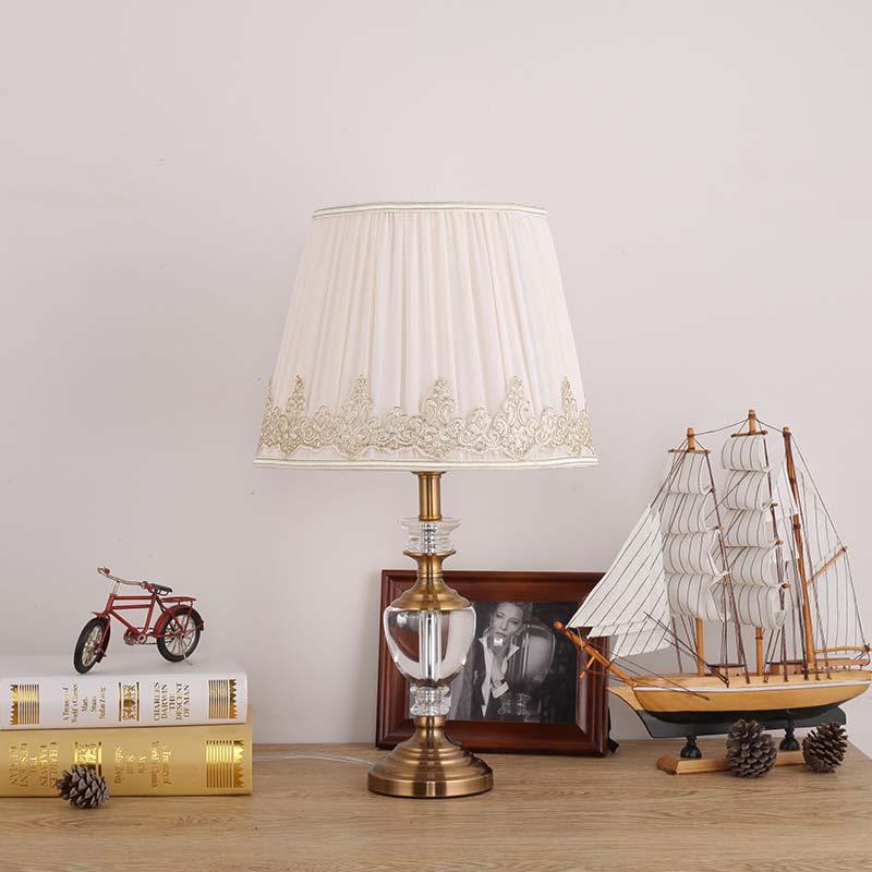 Фотография Modern Luxury Crystal Table Lamp Fabric Lampshade Living Room Bedroom Bedside Light Home Lighting Antique Brass Iron E27 220V