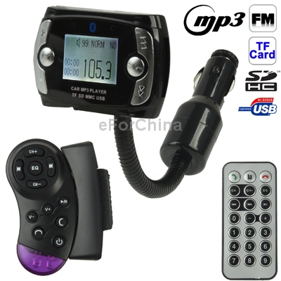 The Newest 1.5 inch Hands Free Car Kit Bluetooth FM Modulator Car MP3 for Car Steering Wheel,Support SD/TF Card/USB Flash Disk(China (Mainland))