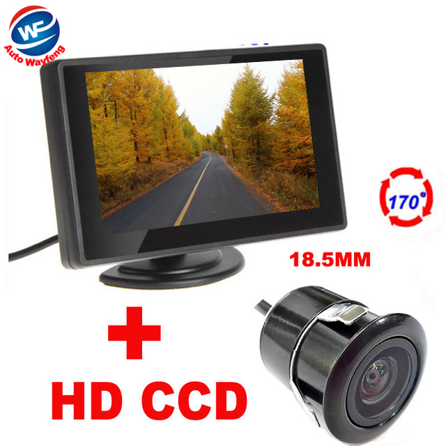 2 in 1 4.3 Digital TFT LCD Mirror Car Parking Monitor + 170 Degrees Mini Car Rear view Camera Auto Parking Assistance System(China (Mainland))