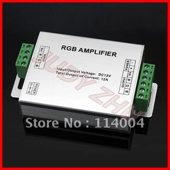 NEW 100x DC12V/24V 12A Aluminum Case RGB Signal Amplifier for SMD 3528 5050 LED Strip Light,high quality, free shipping