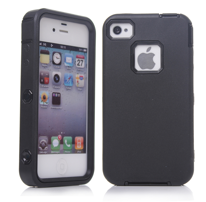 3 In 1 For iPhone 4 4S Case,Silicone+Plastic Defender Phone Case For iPhone 4 4S(China (Mainland))