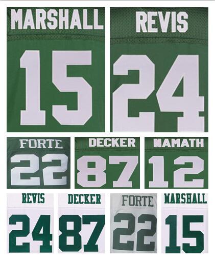NIEUWE collectie 15 Brandon Marshall 22 Matt Forte 24 Darrelle Revis 87 Eric Decker 12 Joe Namath wit groen 100% Stitiched jersey(China (Mainland))