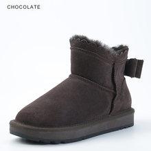 INOE 2019 yeni varış inek süet deri kadın ayak bileği kışlık botlar ilmek ile koyun yün kürk astarlı kısa kış ayakkabı kadınlar için(China)