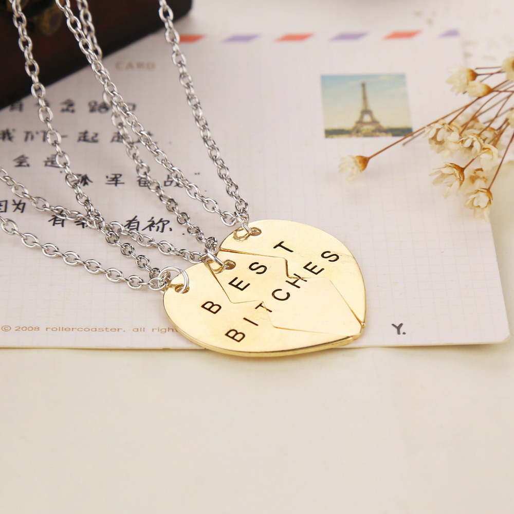 Christmas Gifts Sunshine jewelry store 2015 2 or 3 PCS broken heart best bitches big heart pendants and necklaces for women(China (Mainland))