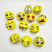 12pcs 6.3cm emoji Smiley Stress Ball Novelty Squeeze Ball Hand Wrist Exercise Squeeze Toys Smile Face For Children Adult(China (Mainland))