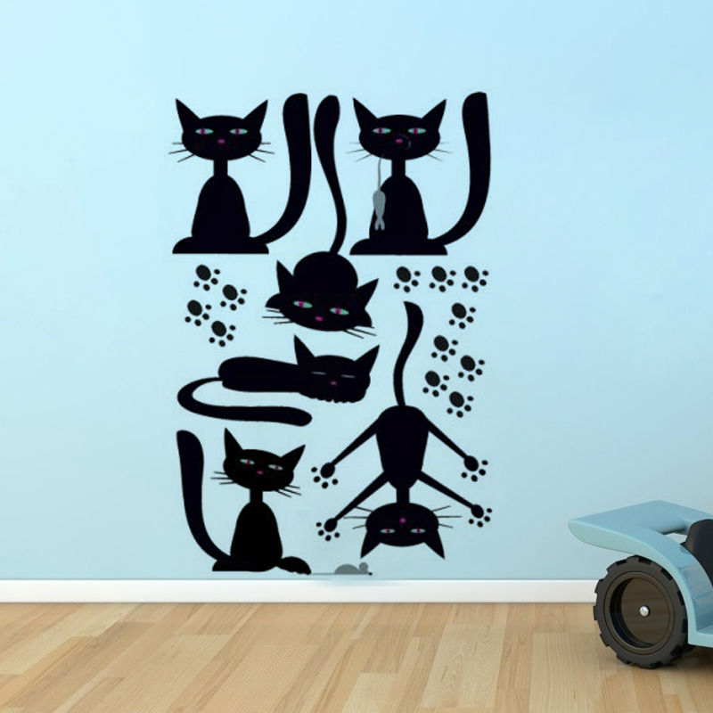 6pcs lot black cats wall sticker vinyl removable diy home decor self adhesive animal kids room Home decor survivor 6