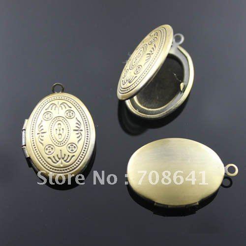 20x16mm Vintage Antique Bronze Brushed Brass Oval Photo Frame Locket Pendant(China (Mainland))