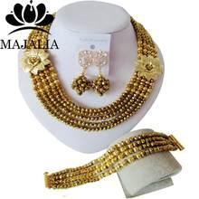 אופנה ניגרי חתונה אפריקאית חרוזים תכשיטי סט זהב שמפניה קריסטל כלה תכשיטי סטי משלוח חינם ZWO-00655(China)