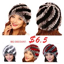 2015 New Style Genuine Knitted Rex Rabbit Fur Hat Natural Rabbit Fur Caps Fashion Women Beanies Headgear Various Colors