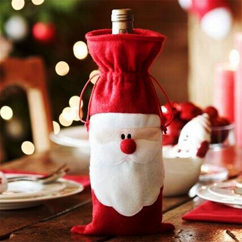 1Pc Red Wine Bottle Cover Bags Xmas Santa Claus Christmas Table Dinner Decoration Home New Year 2016(China (Mainland))