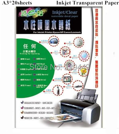 Freeshipping A3 Paper*20pcs Transparent Color Inkjet Water Slide Decal Paper For Glass(China (Mainland))