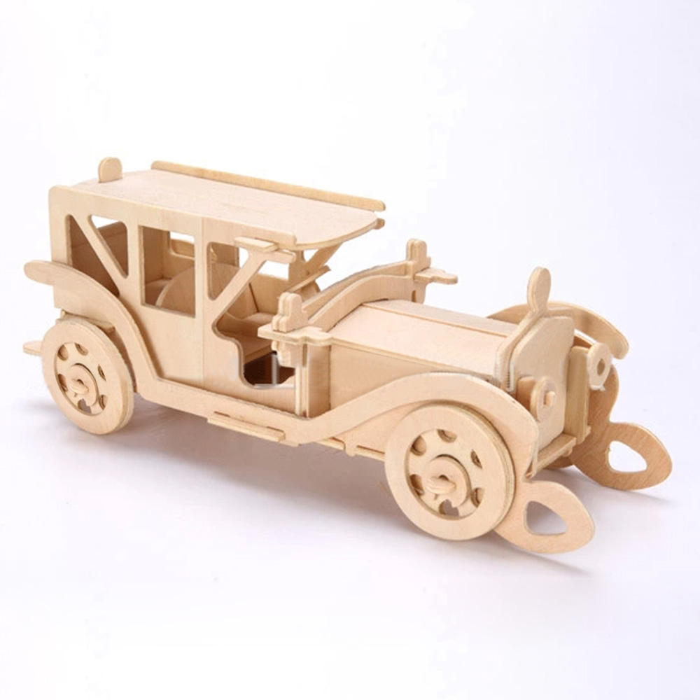 3D Wooden Puzzle Jigsaw Bulldozer Antique Car Model Toy DIY Kit for Children And Adults(China (Mainland))