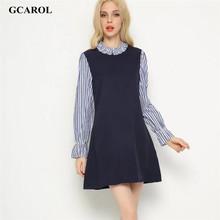 GCAROL Women New Striped Sleeve Spliced Dress Standard Collar Fake Two Pieces Dress Vintage Retro Spring Autumn Winter Dress(China (Mainland))