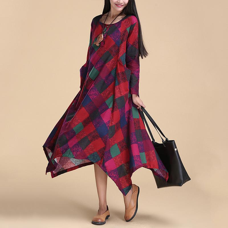 Art Original Design Long Dress 2016Spring New Fashion Large Pocket Cotton Line Hit Color Plaid Loose Clothes For Women(China (Mainland))