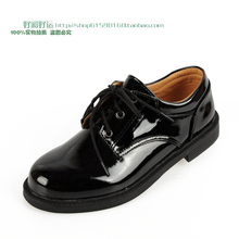 Child 2012 male child leather shoes soft leather shiny lacing flower girl formal dress shoes(China (Mainland))