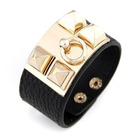 Brand New Vintage Statement Jewelry Fashion Exaggerate Punk Spike charm bracelet PU Rope Leather bracelet for women 2015