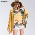 FROMMAZZ 2016 New Summer Casual Fashion Floral Women Ladies Sexy Batwing Sleeve Loose Chiffon Floral Printed