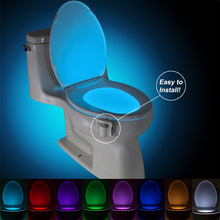 Sensor Toilet Light LED Lamp Human Motion Activated PIR 8 Colours Automatic RGB Night lighting(China (Mainland))