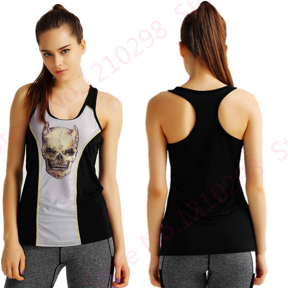 3D Print Alien Sports Yoga bras Horrific Skull Horn Sport Vest Grey Skeleton Jogging Tank Top Ladies Black Sleeveless Vest(China (Mainland))