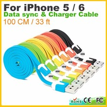 Muticolor 1M Usb Cable Flat Noodle Data Sync Charger Cable for iPhone 5 5S 5C 6 6Plus usb cable for iPod