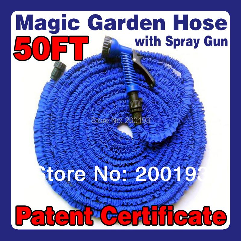 [PATENT CERTIFICATE] Free Shipping Working Lenght 15Metres Plastic Connector 50FT Blue Garden Water Hose+Spray Gun EU(China (Mainland))