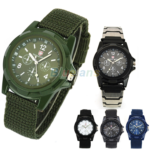 New Solider Military Army Men's Sport Style Canvas Belt Luminous Quartz Wrist Watch 4 Colors 1FV5(China (Mainland))