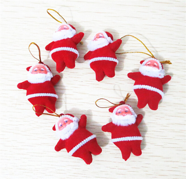 10 Pcs/ Lot Wholesale Small Santa Claus Christmas Tree Ornaments Christmas Supplies Decorative Gift Free Shipping(China (Mainland))