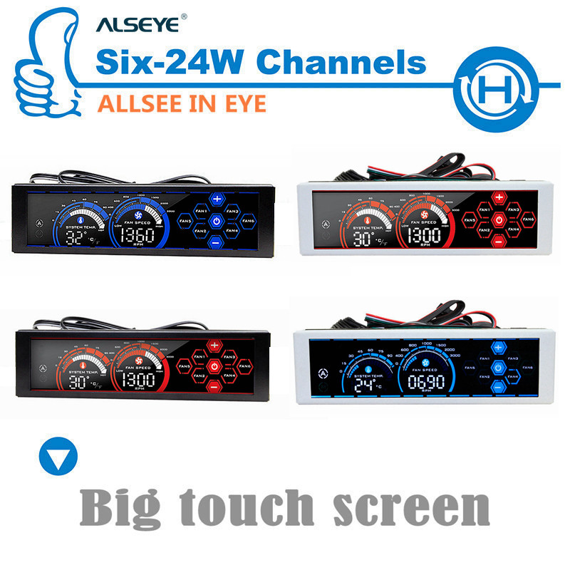ALSEYE a-100L Gaming Computer Chassis panel Fan speed controller Water cooling pump / 6 fans control LCD touch screen 4 colors(China (Mainland))