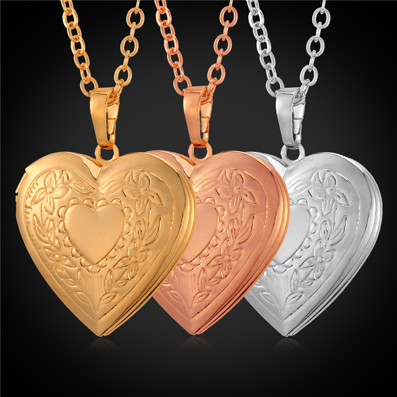 Valentines Day Jewelry Gift Love heart Necklace Women 18K Gold/Platinum Plated heart Memory Locket necklace Pendants P570(China (Mainland))
