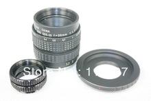 Black 35mm f/1.7 CCTV Lens for Fuji FX + C Mount to Fuji FX adapter +2 Macro Rings
