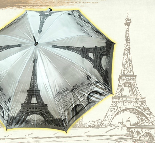 Free Shipping High Quality Unique Paris Tower Automatic Umbrella Winter Scenery Cloudy Sky Umbrellas(China (Mainland))