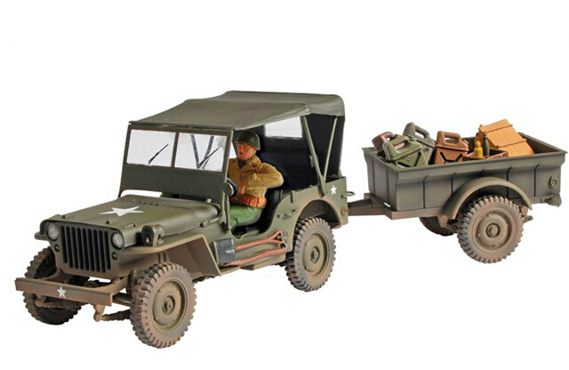 FOV 81008 1:32 WWII Jeep band ceiling and trailer alloy model(China (Mainland))