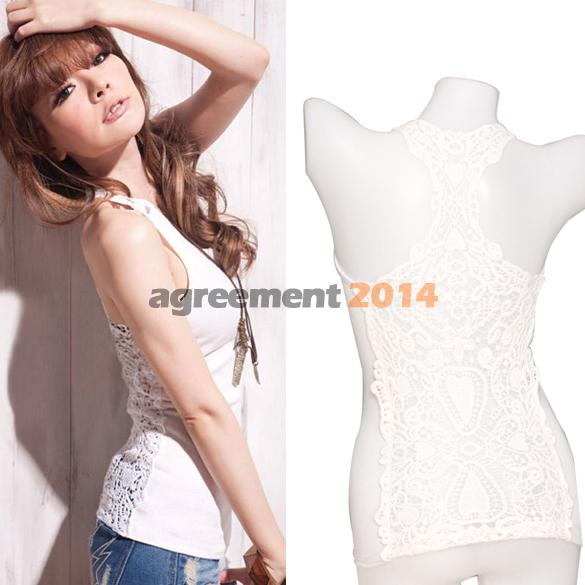 Sexy Crochet Back Carved Flowers Vest Camisole Lace Tank Top White ARE4(China (Mainland))