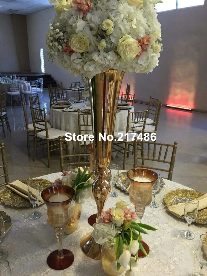 Aliexpress.com : Buy wholesale beautiful tall metal flower vase gold paited flower stand wedding ...