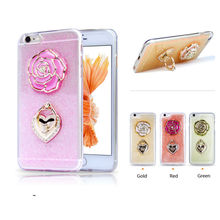 New Epoxy diamond rose phone case for Iphone 6/6S/6plus Bracelet holder TPU Phone Case for iPhone6 4.7 5.5 ,Free shipping