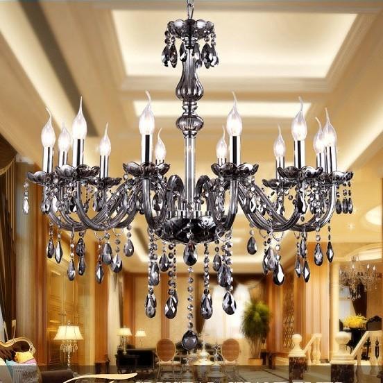 Crystal chandelier 12 lights lamps SMOKE GRAY COLOR chandeliers lamps crystal chandelier lustre lamp led lamp(China (Mainland))