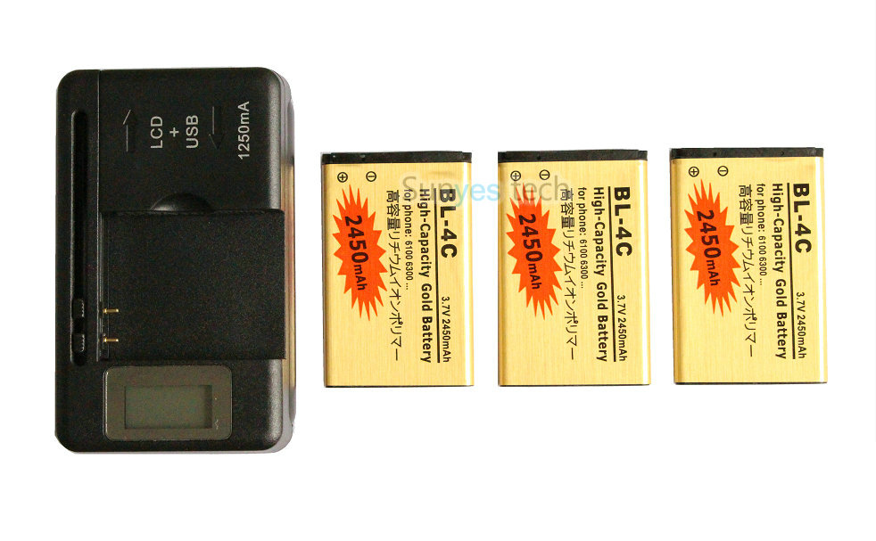 3x 2450mAh BL-4C BL 4C BL4C Gold Replacement Battery + LCD Charger For Nokia 6100 6300 6103 6131 6125 6136S 6170 6260 6301 ect(China (Mainland))