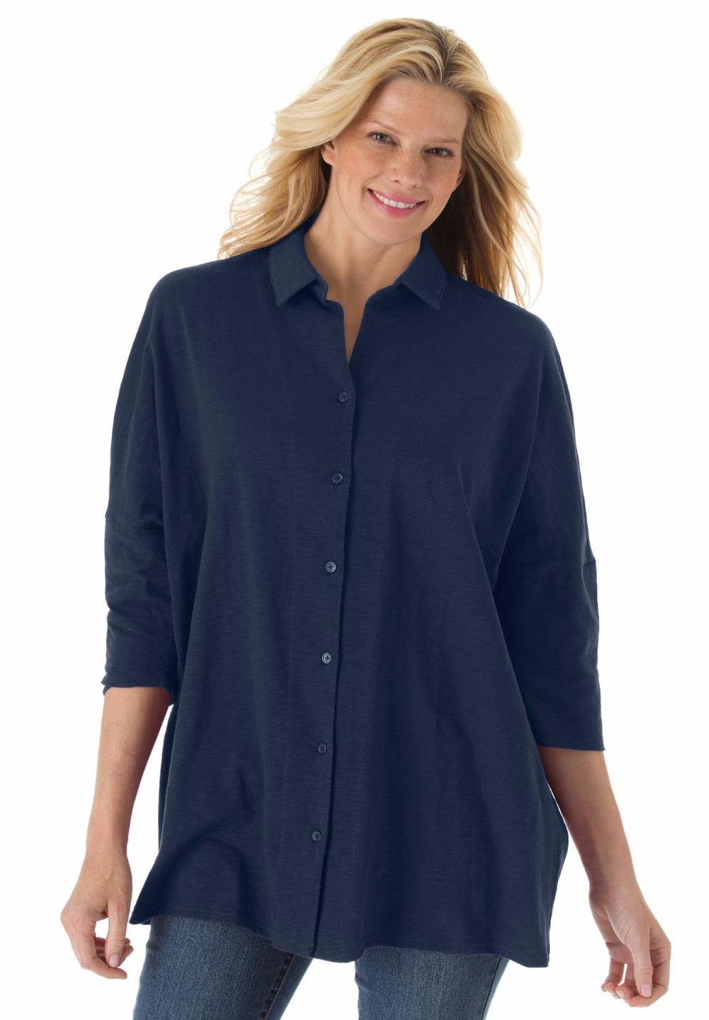 2xl 10xl large size women button front slub knit tunic