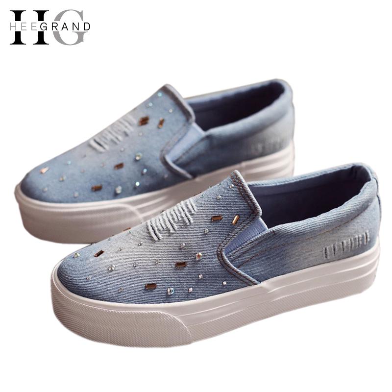 Zapatos planos mujeres 2016 para Mujer del verano Slip On Causal Denim alpargatas Diamond Flats Sapatos