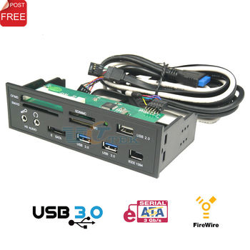 """USB 3.0 All in 1 5.25"""" Muiti-Function Media Dashboard Front Panel Card Reader eSATA 1394 HD-Audio Output"""