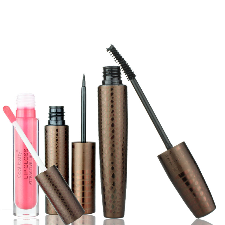 free shipping Make-up triangle mascara set liquid eyeliner lip gloss turbidness lengthening curling(China (Mainland))