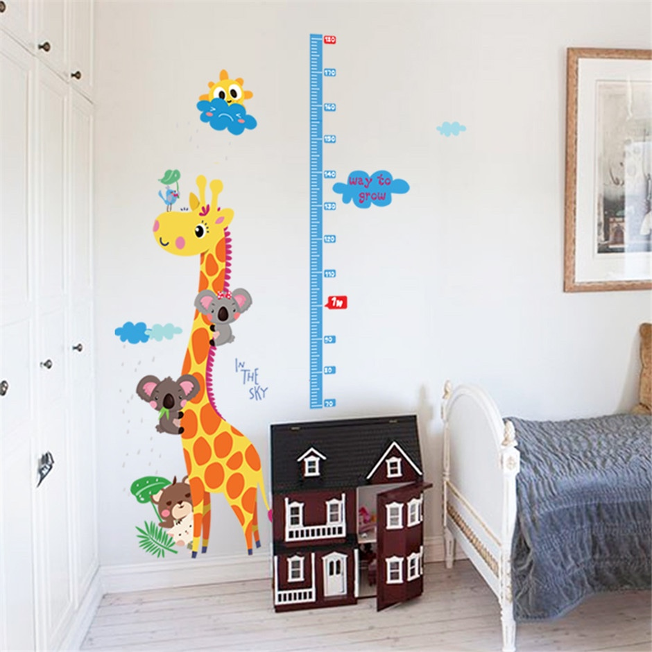 Eco Removable Giraffe Height Measure Ruler Wall Sticker Removable
