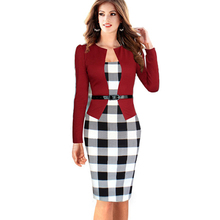 2016 Women Summer Elegant Belted Tartan Lace Patchwork Tunic Wear to Work Business Casual Pencil Wiggle Sheath Dress 068