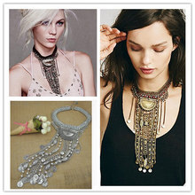 N1828 New freepeopl  Ethnic jewelry Long Tassel Caving Beads boho tribal coin statement necklace