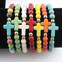 fashion 2016 new charm stone mix colors cheap fashion turquoise bead cross bracelets wholesale free shipping(China (Mainland))